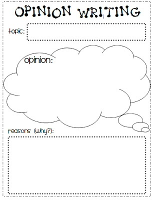 Opinion writing graphic organizer: for getting students ready to write opinion papers, this allows them to organize their thoughts.