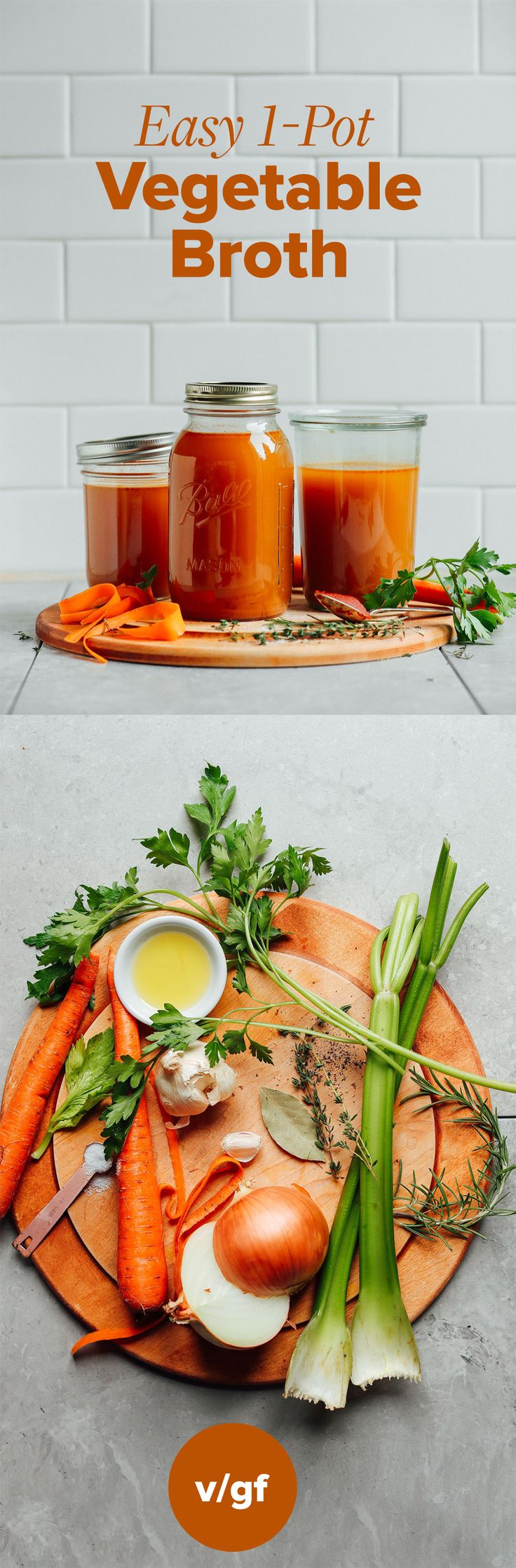 This easy, one-pot recipe for homemade vegetable broth is a great way to use up vegetable scraps to make delicious broth for soups and more!