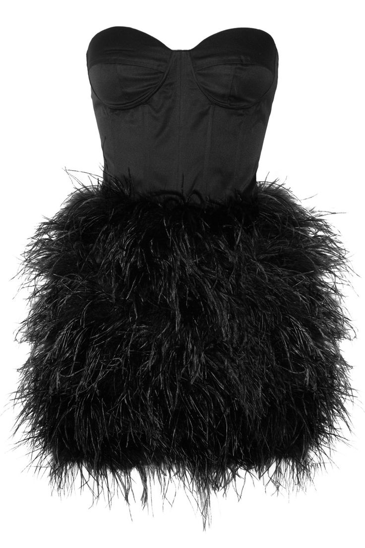 rare opulence feather embellished satin bustier dress *drool*Feathers Embellishments, Fashion, Black Dresses, Style, Clothing, Bustiers Dresses, Feathers Dresses, Rare Opulent, Satin Bustiers