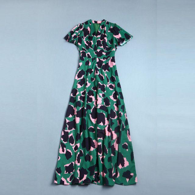 Красивый элегантный зеленый с камуфляжным принтом Sexy v-образным вырезом Бабочка рукавом в европейском и американском стиле новинка 2017 года темперамент Макси платье