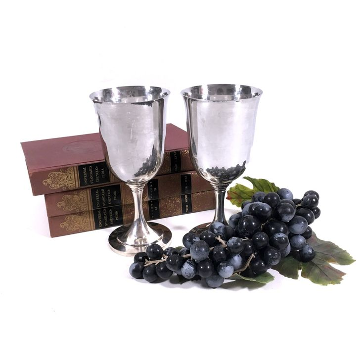 Vintage Silver Wine Goblet Set by Oneida #weddingreception #vintagefinds #vintagedecor