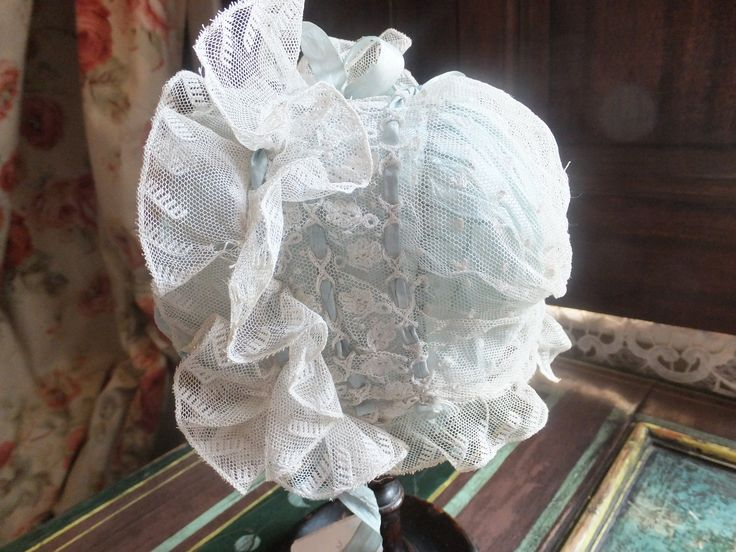 This infant Regency bonnet is very early - perhaps 1810. Have you ever seen such frivolity? In two parts, you can see more pictures on Poppies Cottage. One of my favourite things!