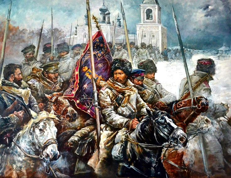Cossacks on the march, Russian Civil War
