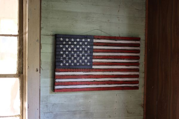 """James+James: Wooden American Flag. 38.5"""" wide x 21.5"""" tall."""
