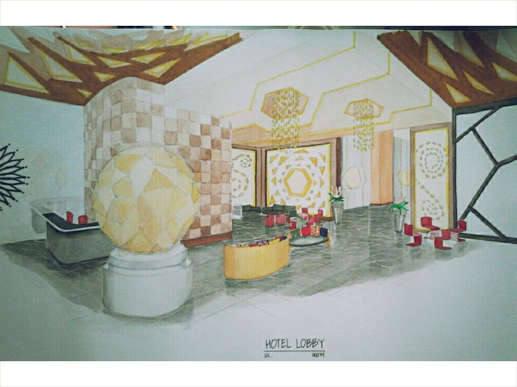 Hotel lobby rendered perspective