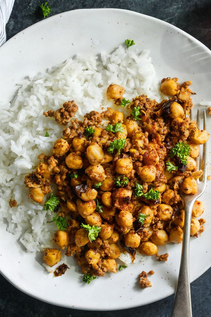 NYT Cooking: Chickpeas have characteristics other legumes don't share. When cooked until tender, they don't turn to mush, and their cooking broth is delicious. This recipe takes advantage of both assets. Related to a classic chili, it combines chickpeas, meat and spices. The cooked chickpeas are sautéed over high heat until browned and slightly crisp, and the pan is deglazed with chickpea%...