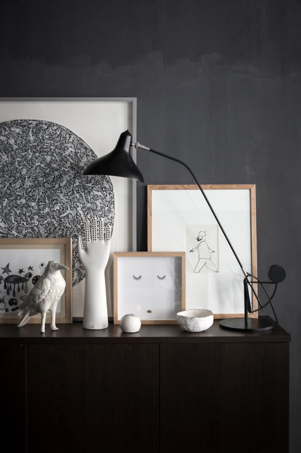IS BLACK THE NEW WHITE? | THE STYLE FILES, mixing framed art and accessories on a sideboard