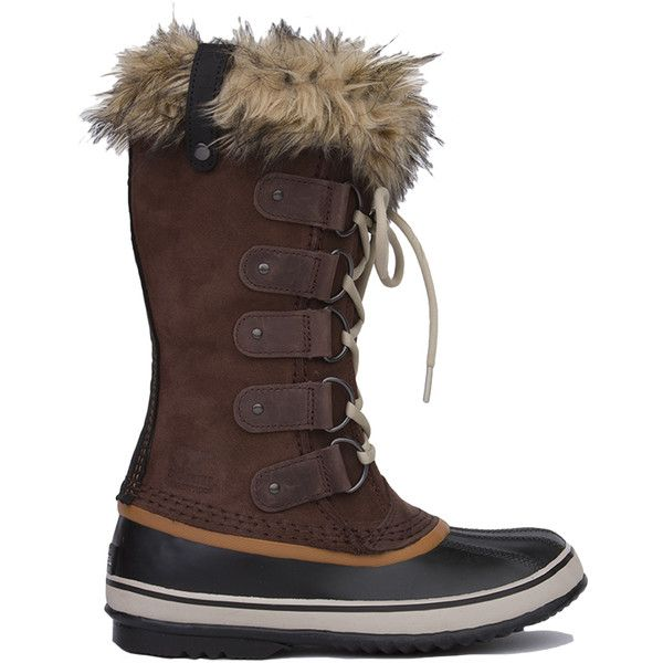 Sorel Women's Joan Of Arctic Boots - Brown ($136) ❤ liked on Polyvore featuring shoes, boots, mid-calf boots, brown leather boots, mid-calf lace up boots, waterproof duck boots and mid calf leather boots