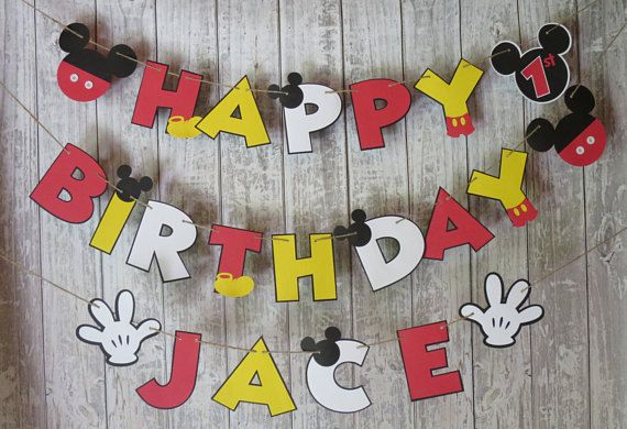 Mickey Mouse Birthday Banner FREE US SHIPPING Mickey Mouse