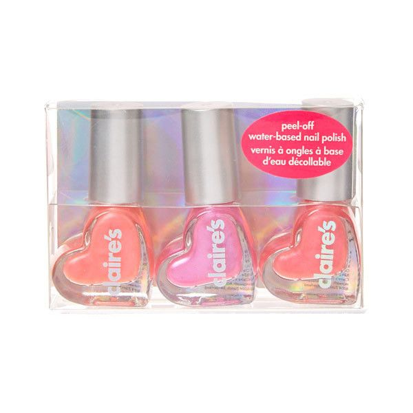 Pink Heart Water Based Nail Polish Set | Claire's ($6.46) ❤ liked on Polyvore featuring beauty products, nail care, nail polish and claire's nail polish
