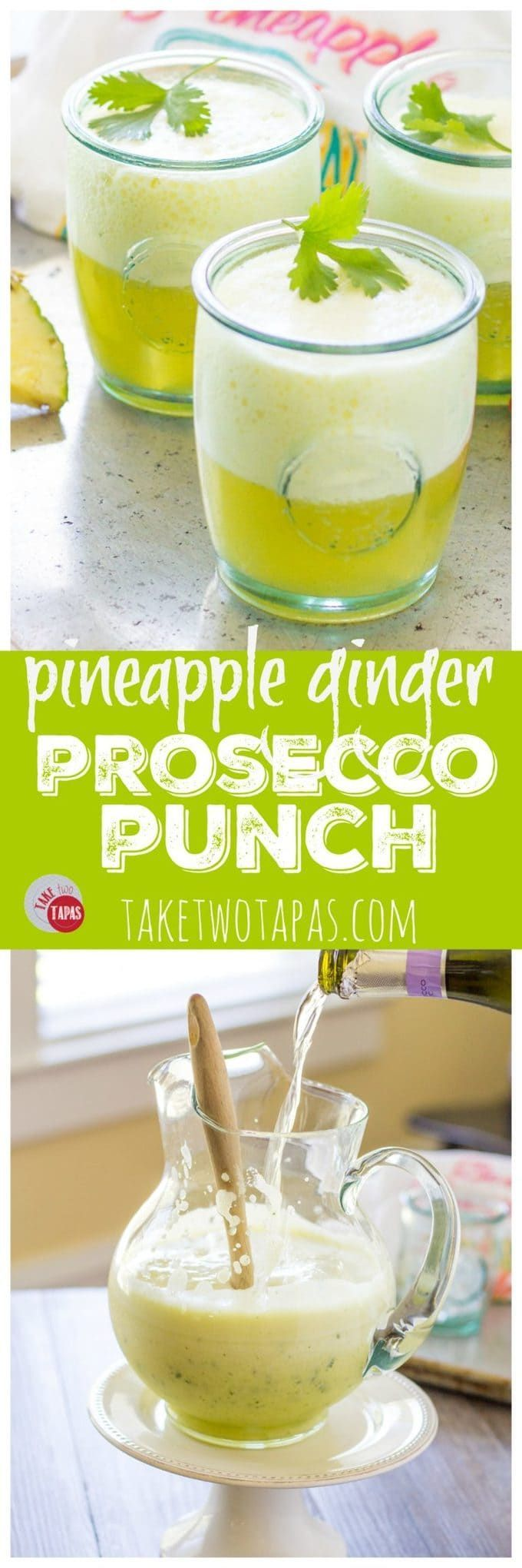 This pitcher style pineapple ginger prosecco punch is perfect for an intimate party or a full blown celebration! Make ahead and add the prosecco at the last minute for a bubbly and refreshing cocktail! Mocktail version available too! Pineapple Ginger Prosecco Punch Recipe | Take Two Tapas