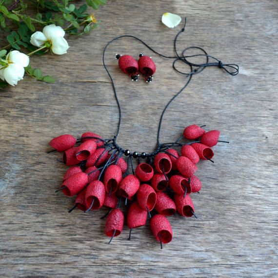 necklace made of natural silk cocoon and earrings. red black necklace.  silk cocoons jewelry. necklace silk cocoon