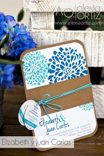 Invitaciones de boda azul con toque rústico / invitaciones de boda / wedding invitations