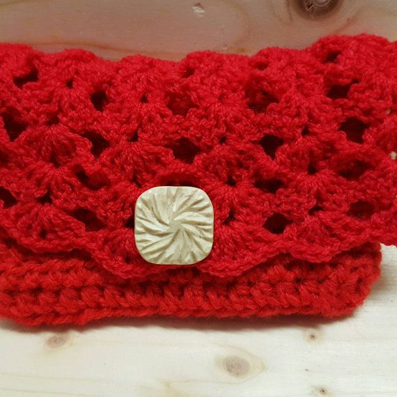 Tissue pocket crochet red with button by CraftedbyKizzy on Etsy