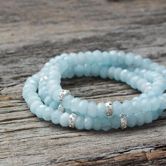Aquamarine Sterling Bead Bracelet / Sky Blue Natural by byjodi