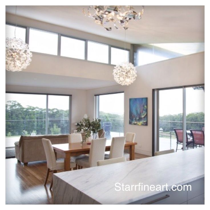 STARR underwater garden painting in situ . What a stunning home and architectural marvel . www.starrfineart.com