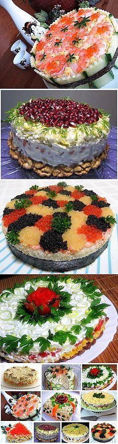 Подборка салатов для праздника.
