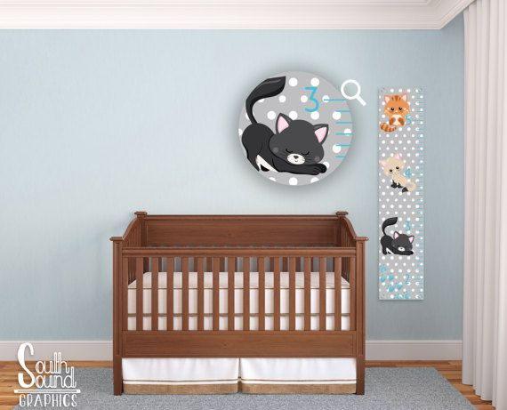 Kids Growth Chart - Girl Room Wall Decor - Cats Custom Wall Hanging - Children's Personalized Growth Chart - Kittens Cat Animals Bedroom