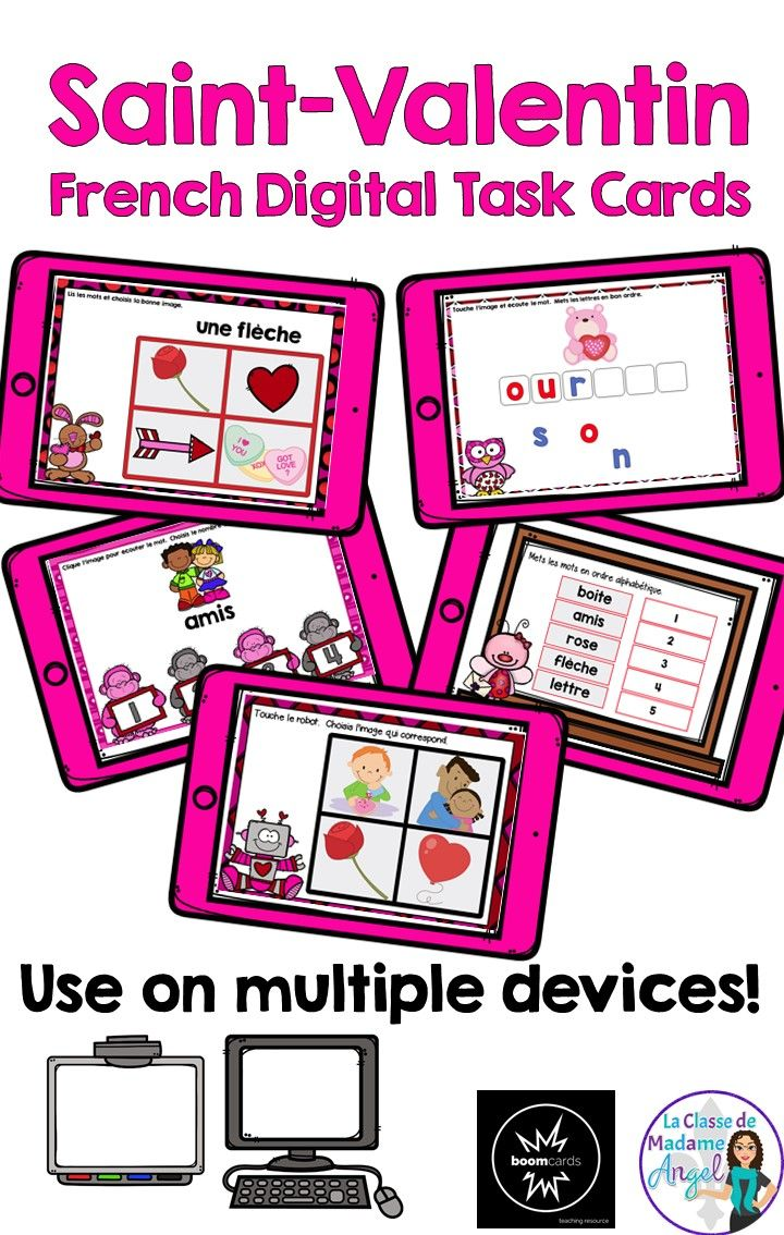 La Saint Valentin.   Have fun learning French vocabulary with this fun set of digital task cards for Valentine's Day.  Easily adaptable for use with a variety of devices, French learners will love this set of Boom cards.