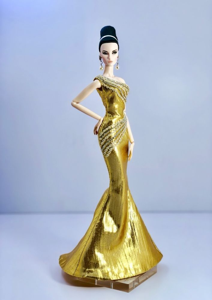 Gold Evening Dress Outfit Gown Fits Silkstone Barbie Fashion Royalty Model Doll