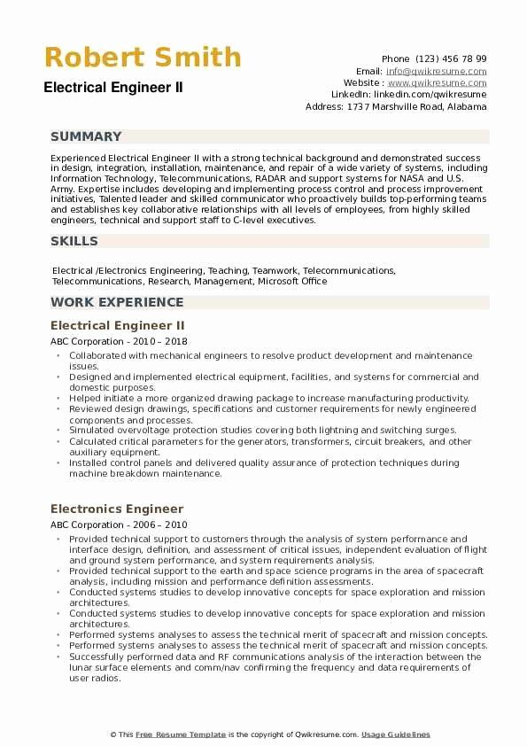 Electrical Engineering Resume Examples Awesome Electrical Engineer Resume Samples In 2020 Engineering Resume Cv Template Word Engineering Resume Templates