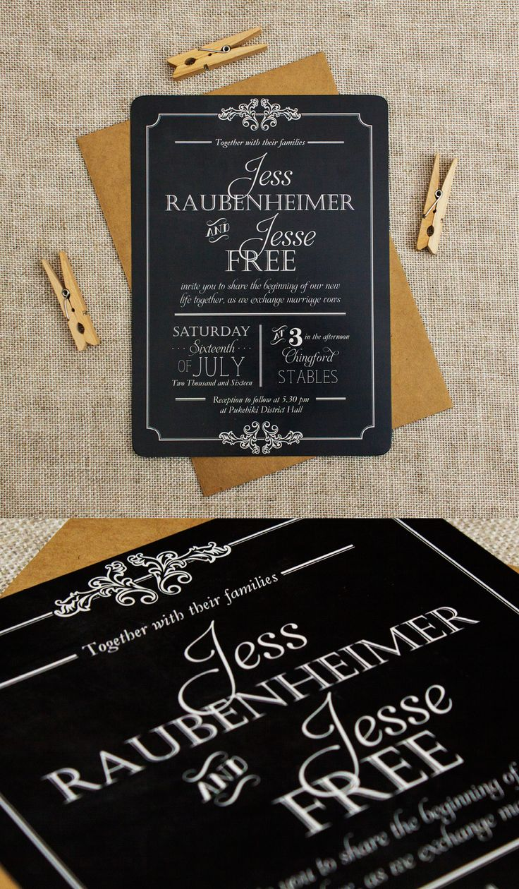 Vintage and Rustic Wedding Invitation - Chalkboard Style