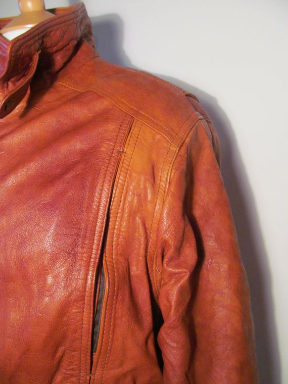 mens leather jacket bomber jacket 1970s womens by MonaBellsVintage, €60.00