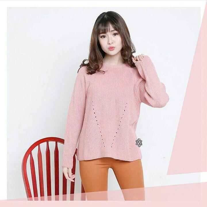 ✨Kode barang : Melanie Premium Sweater Pink ✨Price: 95k ✨Material: Premium Catton Knitt Import