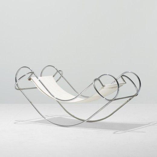 JEAN-MICHEL SANEJOUAND Symétrique rocking chair Atelier A France, 1971 chrome-plated steel, canvas 37.5 w x 62 d x 29.5 h inches