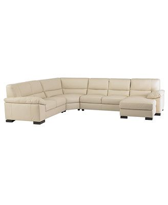 Spencer leather 4 piece sectional sofa one arm loveseat for One arm sofa chaise