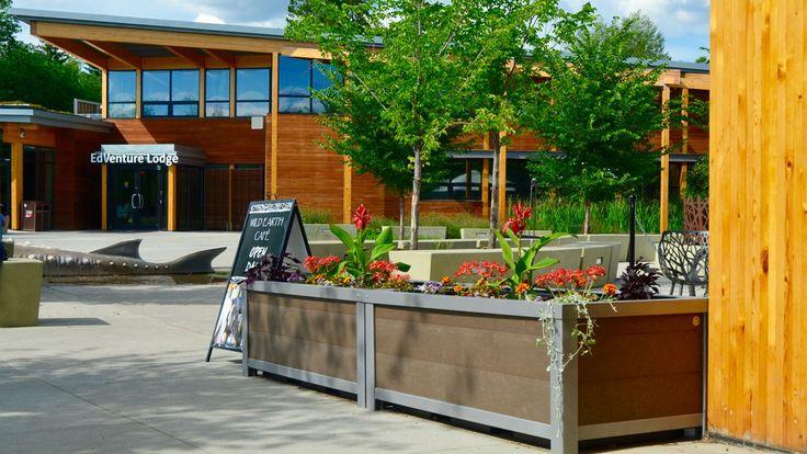 Wishbone Rectangular #SelfWatering Rectangular Urban Form #Planters at the Edmonton Valley Zoo @CityofEdmonton #sitefurniture #madeincanada