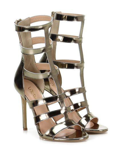 CHON - Sandalo alto - Donna - Sandalo alto in pelle specchiata con zip su retro e suola in cuoio. Tacco 110. - OTTONE - € 275.00