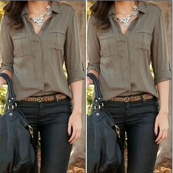 >> Click to Buy << 2015 Women Army Green Shirt Sexy Fashion Loose Shirt Casual Shirt Clothes Blouse Blusas feminina camisas ropa mujer #Affiliate