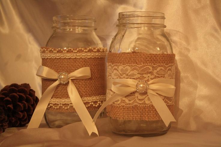 Burlap And Lace Chic Weddings | Burlap and Lace Wedding Mason Jars, Shabby Chic, Barn Wedding, Country ...