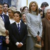 Felipe Juan Froilan de Marichalar y Borbon with his mother Infanta Elena, Duchess of Lugo, his Aunt Infanta Cristina, Duchess of Palma de Mallorca and his great Aunt, Infanta Pilar, Duchess of Badajoz. Mass for the Centenary of the Birth of Don Juan de Borbon |