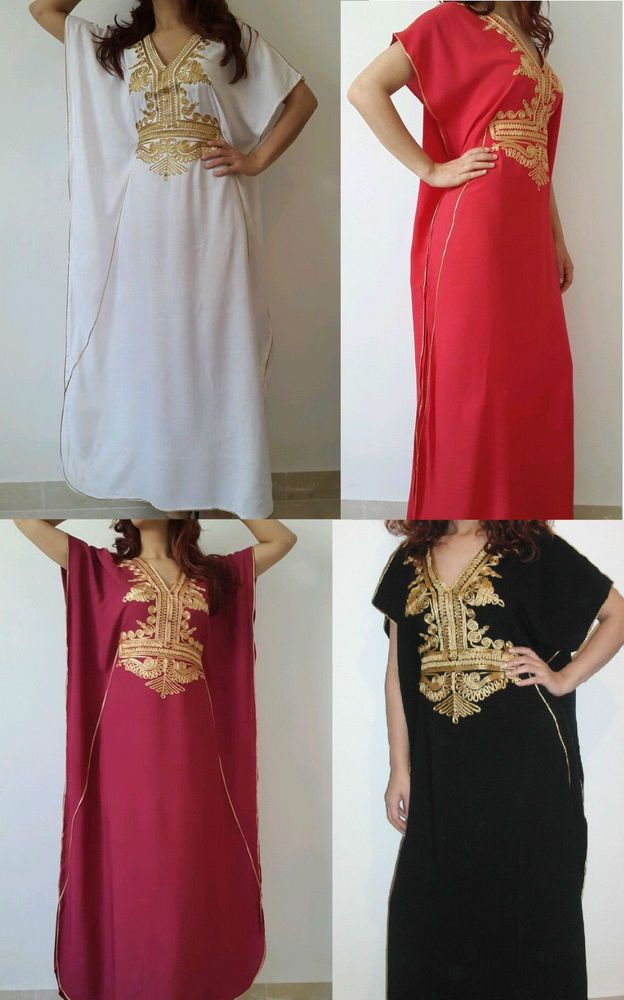 Moroccan kaftan Embroidery Batwing Maxi Dress Dubai Sexy Arabian Abaya one  size  e9fd84bf64b