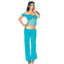 ,Een hoogwaardig kostuum van Leg Avenue, deze Jasmine die ook gedragen kan worden als Arabische schoonheid, buikdanseres of egyptische hofdame. Mooi gedetailleerd afgewerkt met de goudkleurige muntenrand en het juweel.