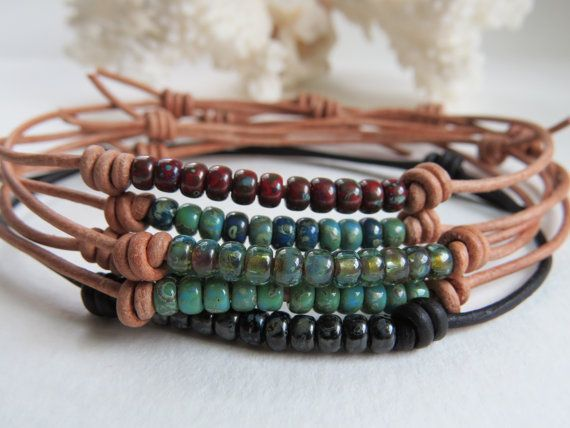 Leather Beaded Adjustable Anklet, Boho Stackable Bracelet, Casual Summertime Jewelry ~ by Hello …