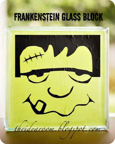 halloween crafts frankenstein glass block - Scary Halloween Crafts