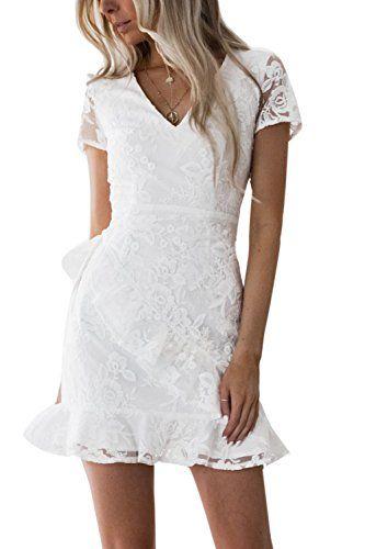 772e3c479ac Zamtapary Une Femme Été Froissé Les Broderies Floral Slim Lace Mini Robe De  Cocktail White M