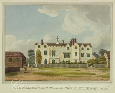 View of Hillingdon Rectory on Royal Lane in Hillingdon, Middlesex; Hillingdon is now in the London borough of Hillingdon.    c1805