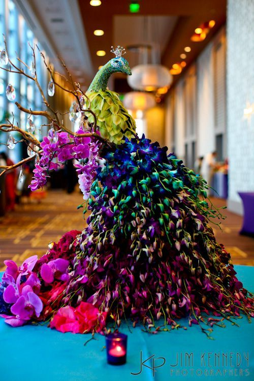 Peacock of Orchids at Orange County Indian Wedding by Jim Kennedy Photographers | with Pin-It-Button on http://www.maharaniweddings.com/2012-03-26/1783-orange-county-indian-wedding-by-jim-kennedy-photographers