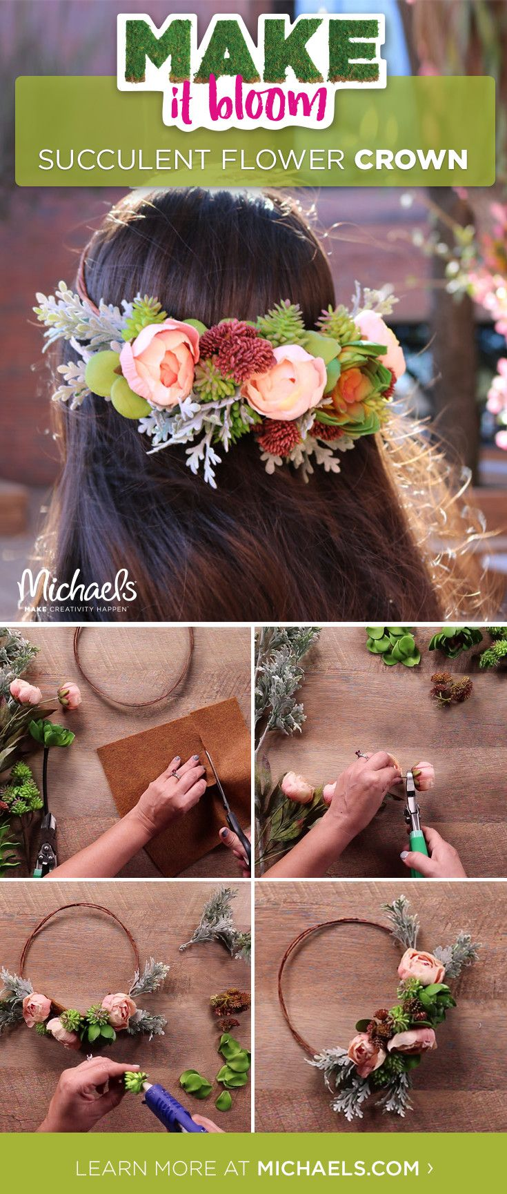 Get festival ready with this beautiful (and easy to-do) Succulent Flower Crown! Follow this simple how-to and unleash your inner-flower child.