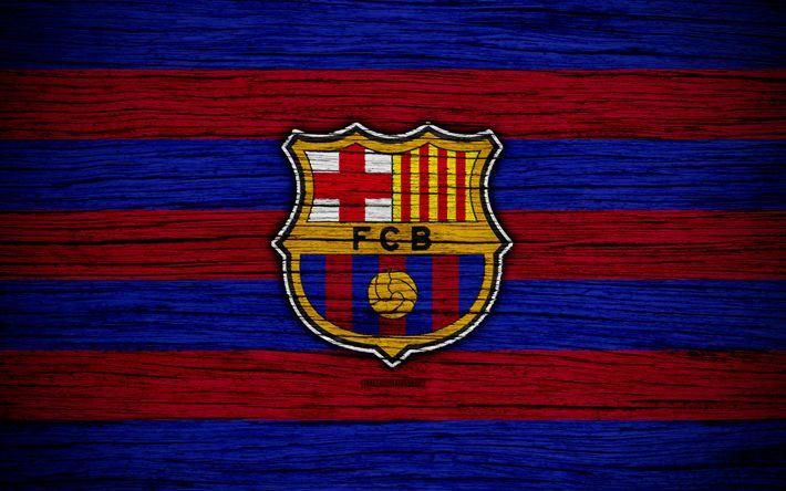 Download wallpapers FC Barcelona, 4k, Spain, LaLiga, wooden texture, Barca, soccer, Barcelona, football club, La Liga, Barcelona FC