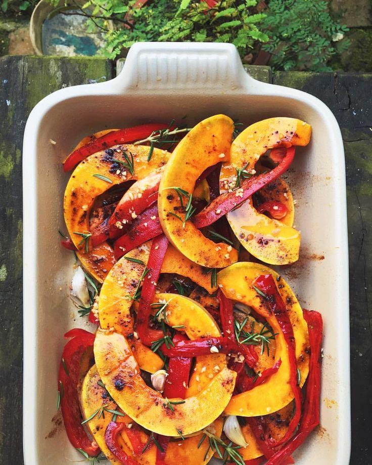 See this Instagram photo by @wilmatarr • Veg roast to celebrate autumn  a beautiful orange pumpkin, sweet red pepper, garlic, sea salt, olive oil & fresh rosemary. ------- #veganfoodshare #lecreuset