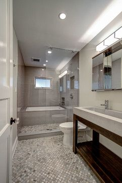 Park Slope Brownstone ben herzog concrete sink trueform open shower wet room mosaic slate tile floor.