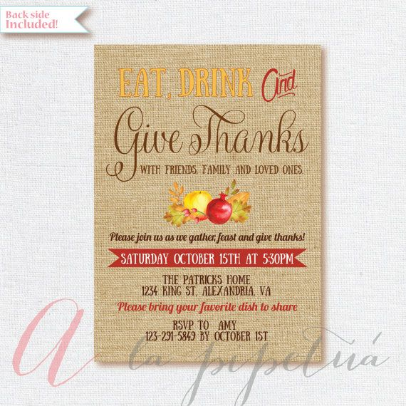Thanksgiving invitation. Printable Thanksgiving invite. Thanksgiving dinner. Burlap thanksgiving invitation. Rustic Thanksgiving invitation