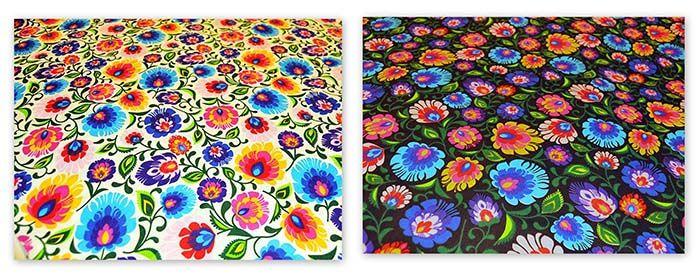 Bawełna FOLK wzór Łowicki 0,5 mb/ Folk Cotton Fabric