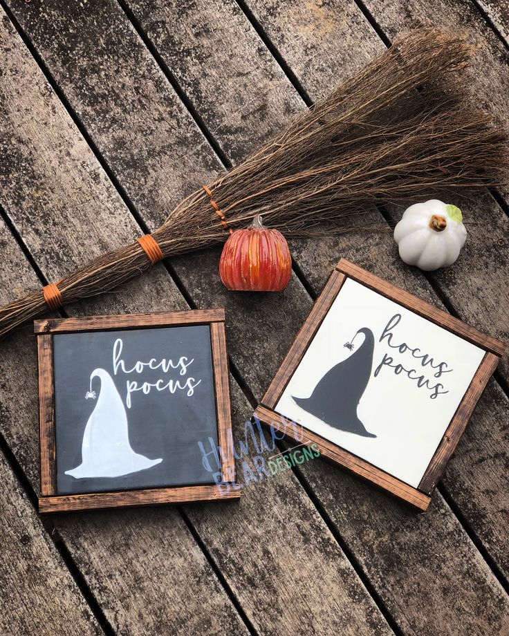 Hocus Pocus witch hat Halloween Farmhouse Style Framed