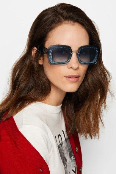 46acc8906d Miu Miu - Square-frame Glittered Acetate Sunglasses - Blue  MiuMiu ...